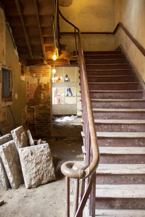 Palmisano project M.S. Rau Antiques Gallery stairs construction